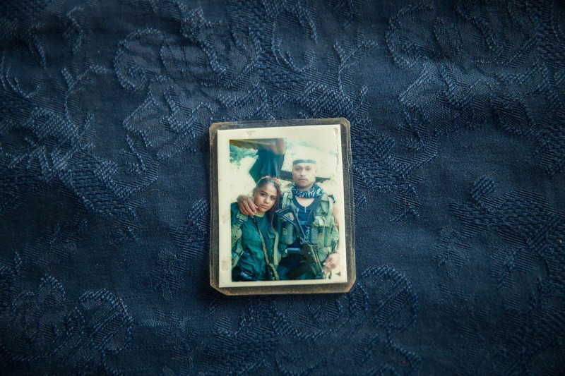 A photo of Vanessa García when she was 16 with her 27-year-old boyfriend, who used the alias Darío Lulo, during their time with the FARC. Vanessa became pregnant and says she was forced to abort his child. (Erika Piñeros for Foreign Policy)