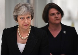 British Prime Minister Theresa May and Arlene Foster, the leader of the Democratic Unionist Party (DUP) visit Belleek Pottery, on July 19, 2018 in St Belleek, Northern Ireland. (Clodagh Kilcoyne - WPA Pool/Getty Images)