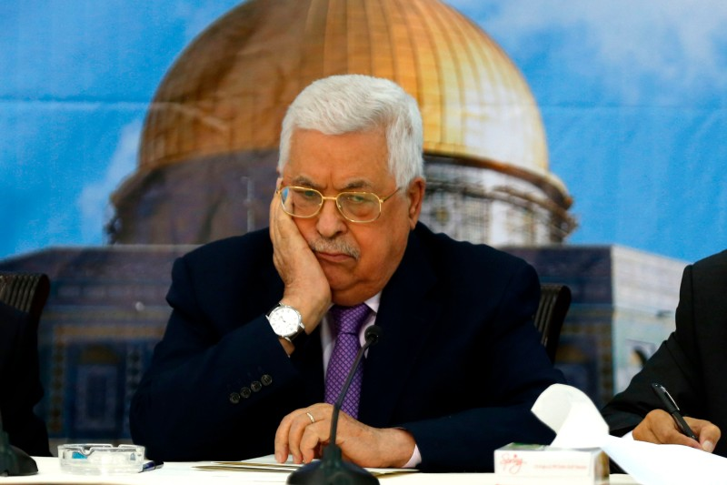 Palestinian President Mahmoud Abbas speaks during a meeting with the Palestinian Central Council in Ramallah on Aug. 15. (Abbas Momani/AFP/Getty Images)