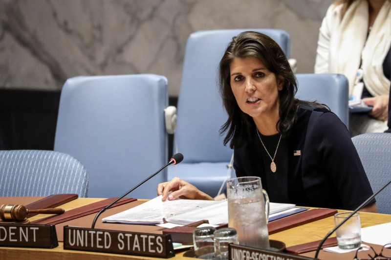 Nikki Haley, the U.S. ambassador to the United Nations, chairs a meeting of the U.N. Security Council on Sept. 17. (Drew Angerer/Getty Images)
