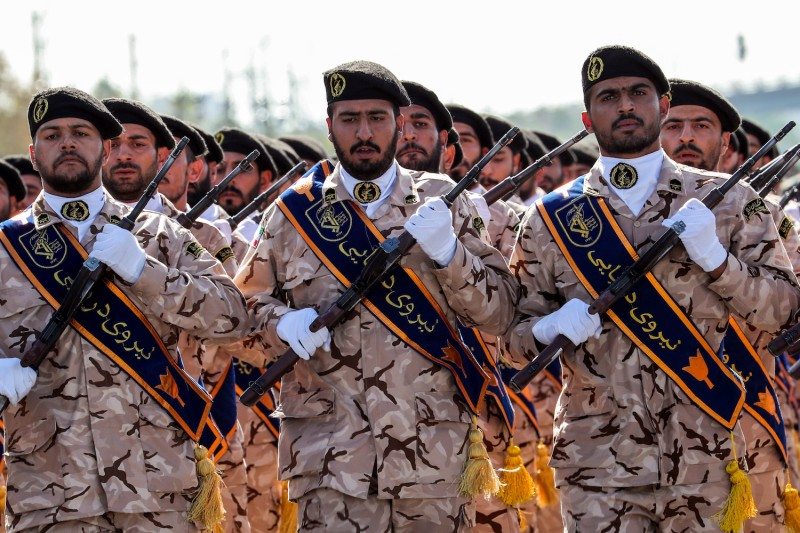 Members of Iran's Revolutionary Guards Corps (IRGC) march during a military parade in Tehran on Sept. 22.(STR/AFP/Getty Images)