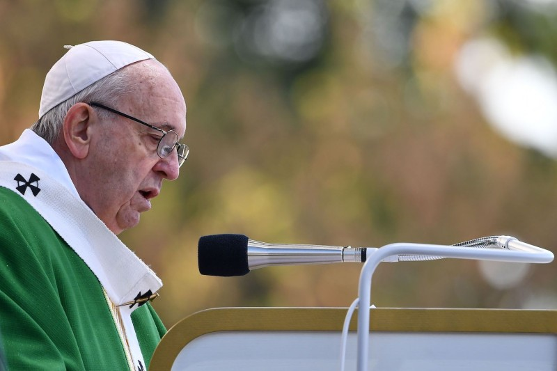 Pope Francis takes part in an open-air mass at in Kaunas on Sept. 23. (Vincenzo Pinto/AFP/Getty)