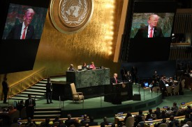 U.S. President Donald Trump addresses the 73rd United Nations General Assembly in New York City on Sept. 25. (Spencer Platt/Getty Images)