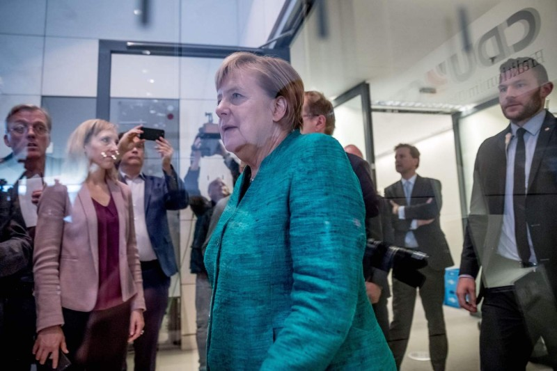 German Chancellor Angela Merkel arrives at the Bundestag in Berlin on Sept. 25. (Michael Kappeler/AFP/Getty Images)