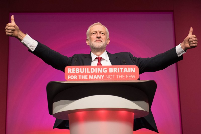 Labour Party leader Jeremy Corbyn speaks at the party's annual conference in Liverpool on Sept. 26. (Stefan Rousseau/PA Images via Getty Images)