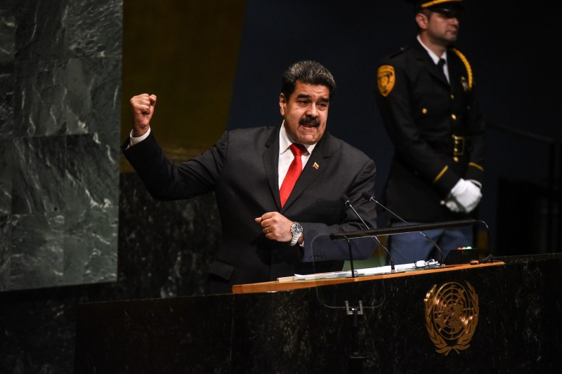Venezuela's President Nicolás Maduro addresses the U.N. General Assembly on Sept. 26. (Photo by Stephanie Keith/Getty Images)