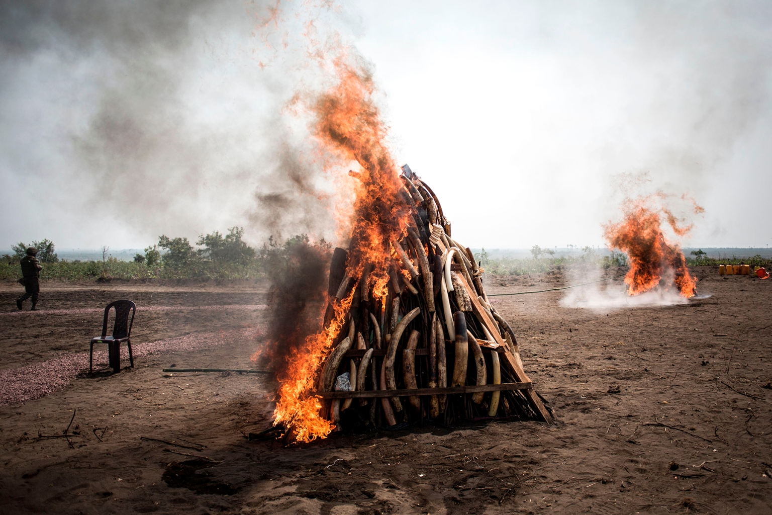 Two piles of ivory burn during a ceremony attended by Joseph Kabila, president of the Democratic Republic of the Congo, who ignited 1 ton of ivory and pangolin scales to draw attention to the problem of poaching in Kinshasa on Sept. 30. JOHN WESSELS/AFP/Getty Images