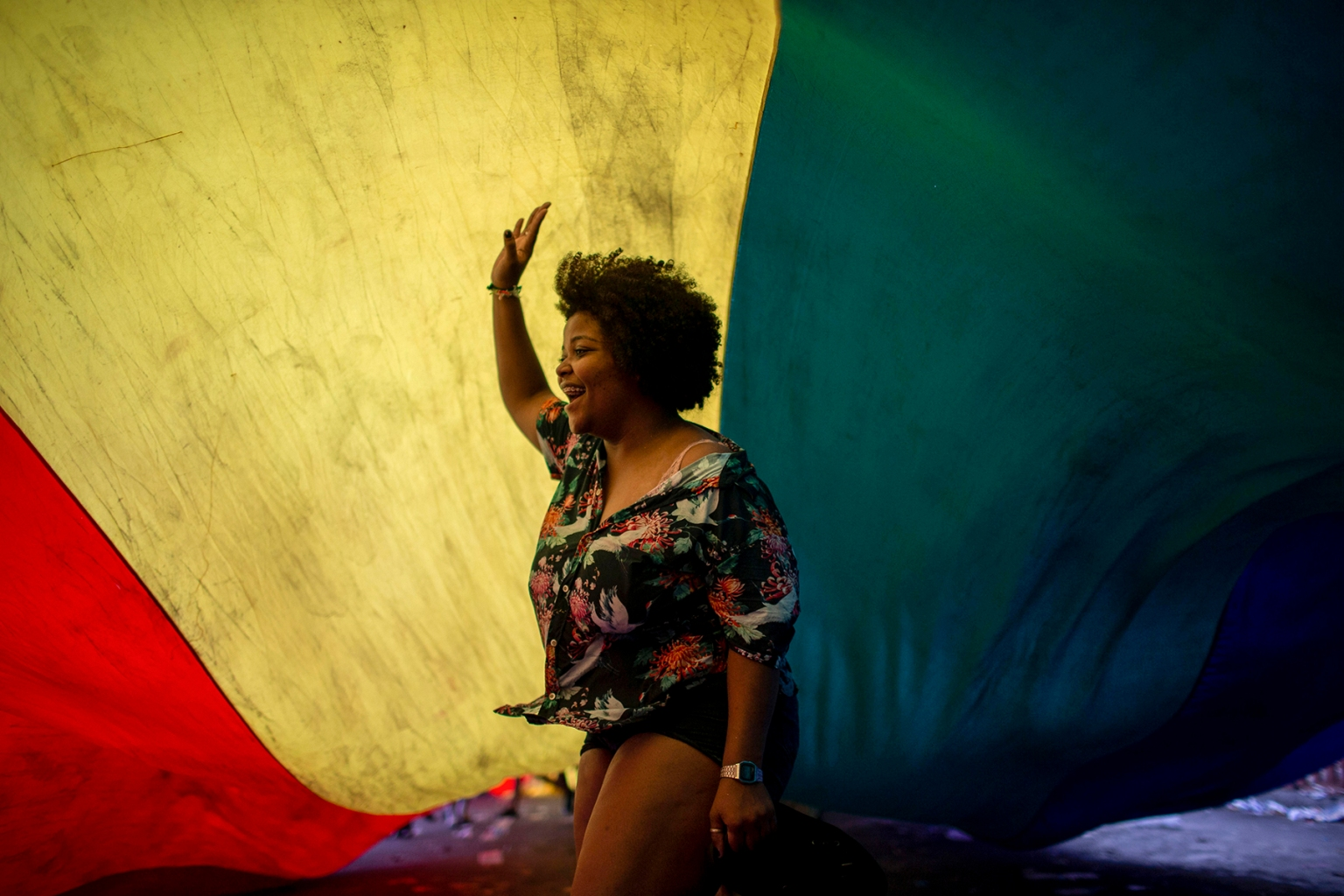 A reveler is pictured during the Gay Pride parade at Copacabana beach in Rio de Janeiro, Brazil, on Sept. 30. (Mauro Pimentel/AFP/Getty Images)