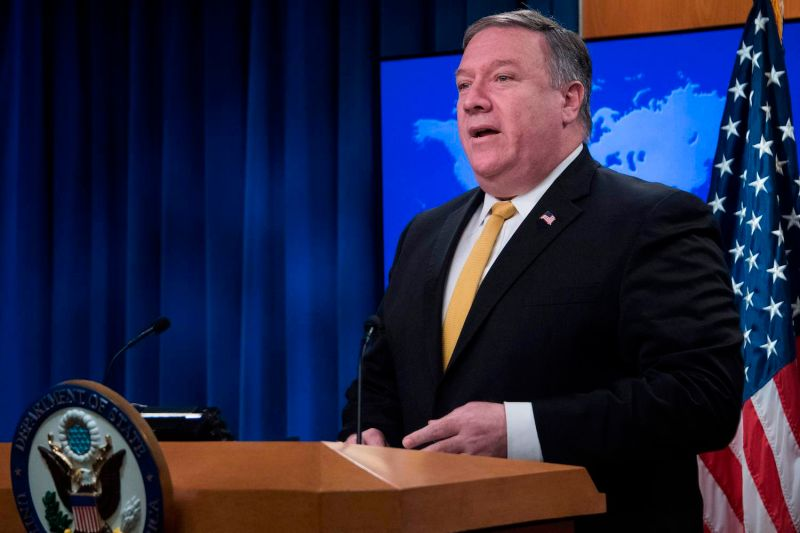 U.S. Secretary of State Mike Pompeo speaks during a press briefing at the State Department in Washington on Oct. 3 (Jim Watson/AFP/Getty Images)