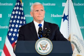 U.S. Vice President Mike Pence laid out the Trump administration's tougher policy toward China in Washington on Oct. 4. (Jim Watson/AFP/Getty Images)