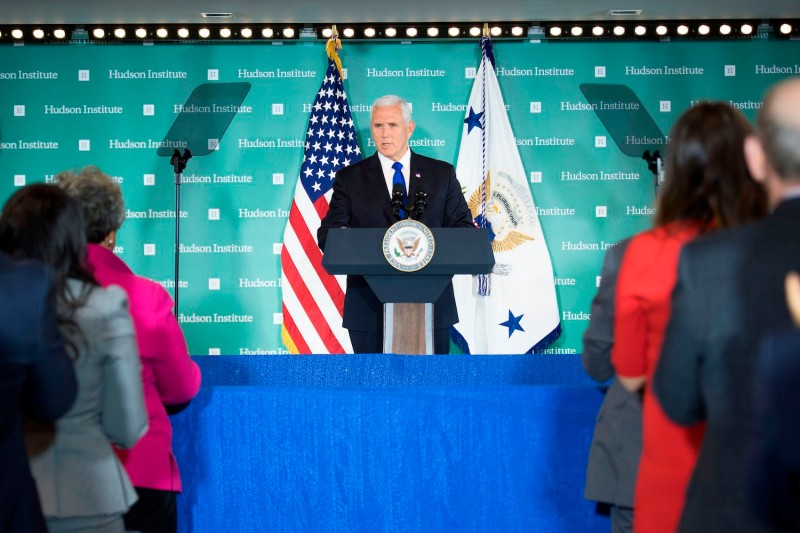 U.S. Vice President Mike Pence addresses the Hudson Institute in Washington on Oct. 4. (Jim Watson/AFP/Getty Images)