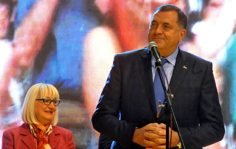 Milorad Dodik delivers a speech in the northern Bosnian town of Doboj on Oct. 7. (Elvis Barukcic AFP/Getty Images)