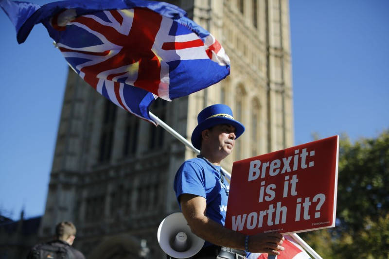 "An anti-Brexit campaigner stands outside Parliament in London with a placard that reads ""Brexit: is it worth it?"" on Oct. 9. (Tolga Akmen/Getty Images)"