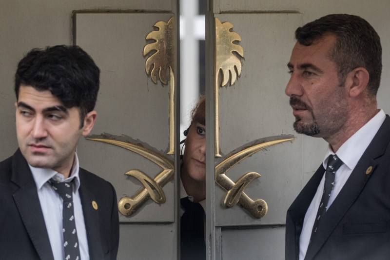 Security personnel at the front door of Saudi Arabia's consulate in Istanbul on Oct. 11. (Chris McGrath/Getty Images)