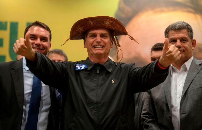 Far-right Brazilian presidential frontrunner Jair Bolsonaro at a press conference in Rio de Janeiro on Oct 11. (Mauro Pimentel/AFP/Getty Images)