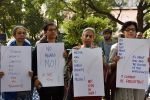 Journalists protest against  sexual harassment in the workplace as part of the #MeToo campaign in New Delhi on Oct. 13. (Mohd Zakir/Hindustan Times/Getty Images)