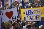 Demonstrators take part in the People's Vote march calling for a referendum on a final Brexit deal in central London on Oct. 20. (Nikilas Halle'n/AFP/Getty Images)