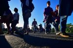 Honduran migrants, heading in a caravan toward the United States, walk in Metapa, Mexico, on Oct. 22. (Pedro Pardo/AFP/Getty Images)