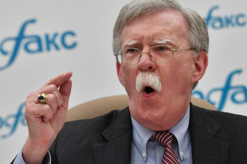 John Bolton, the national security advisor to the U.S. president, gives a press conference in Moscow on Oct. 23. (Yuri Kadovnov/ AFP)
