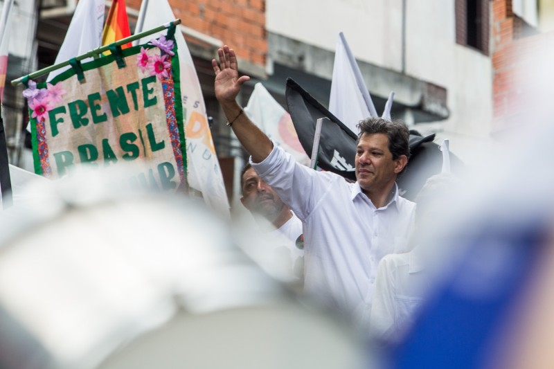 Brazilian Workers' Party presidential candidate Fernando Haddad campaigns on Oct. 27 in São Paulo. (Victor Moriyama/Getty Images)