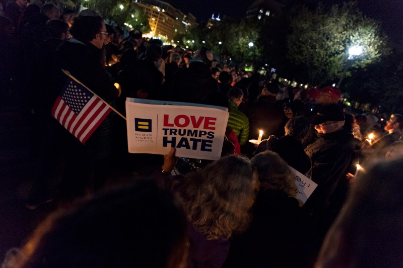 A vigil for the victims of the Tree of Life Congregation shooting in front of the White House in Washington on Oct. 27. (Alex Edelman/Getty Images)