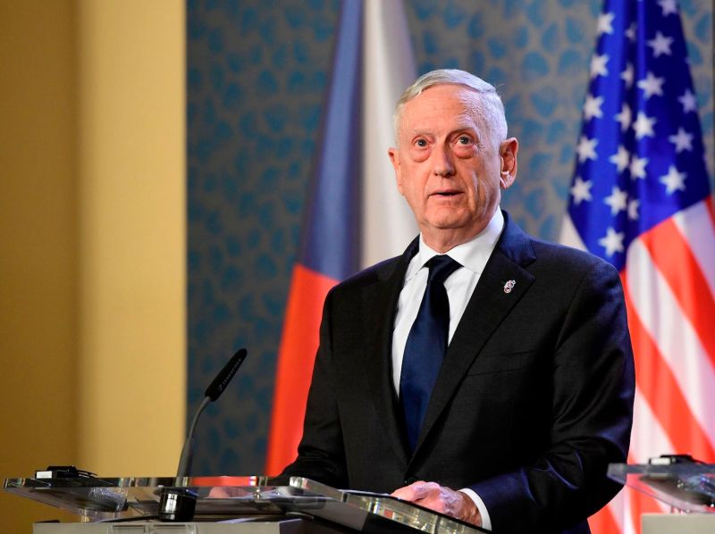 U.S. Secretary of Defense James Mattis addresses a press conference in Prague on Oct. 28. (Stringer/AFP/Getty Images)