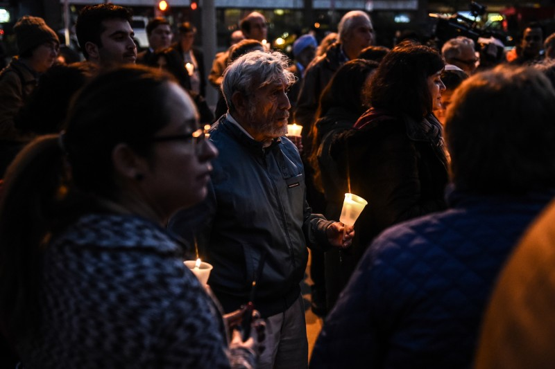 A candlelight vigil in memory of the victims of the Pittsburgh synagogue shooting on the steps of Queens Borough Hall in New York on Oct. 29. (Stephanie Keith/Getty Images)