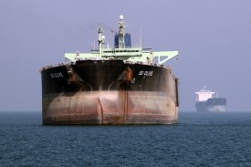Iran is trying to maintain oil exports in the face of U.S. sanctions. An oil tanker off the Iranian port of Bandar Abbas on July 2, 2012. (Atta Kenare/AFP/Getty Images)