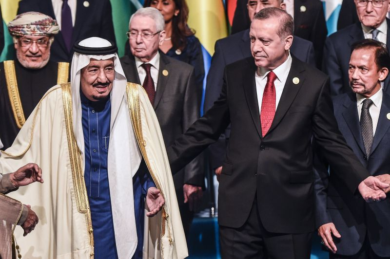 Turkish President Recep Tayyip Erdogan and Saudi King Salman during the Organization of Islamic Cooperation Summit at the Istanbul Congress Center on April 14, 2016. (Ozan Kose/AFP/Getty Images)