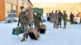 U.S. Marines land in Stordal, Norway, on Jan. 16, 2017. (Ned Alley/AFP/Getty Images)