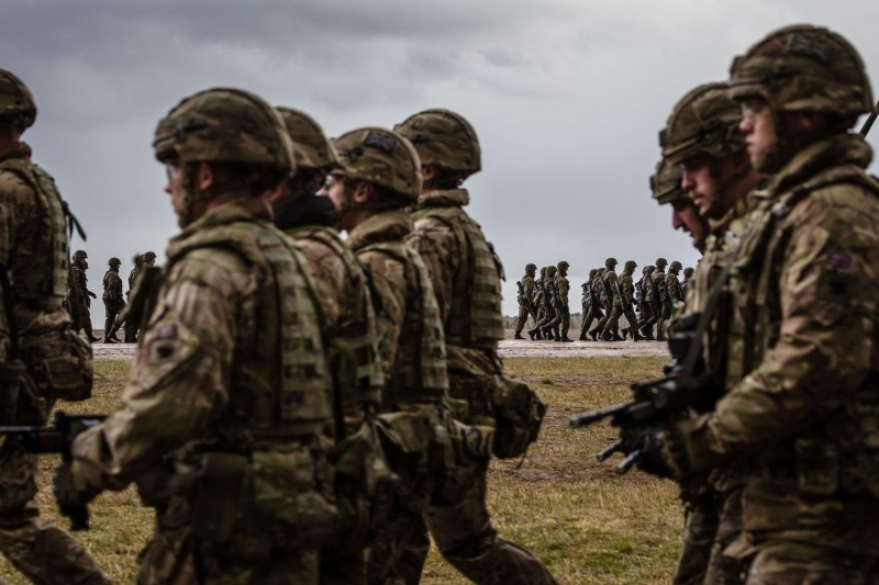 U.S. and Polish troops in Orzysz, Poland, on April 13, 2017. (Wojtek Radwanski/AFP/Getty Images)