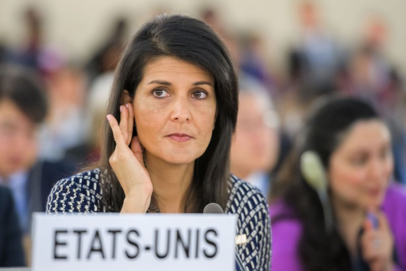 U.S. Ambassador to the United Nations Nikki Haley addresses a session of the U.N. Human Rights Council in Geneva on June 6, 2017. (Fabrice Coffrini/AFP/Getty Images)
