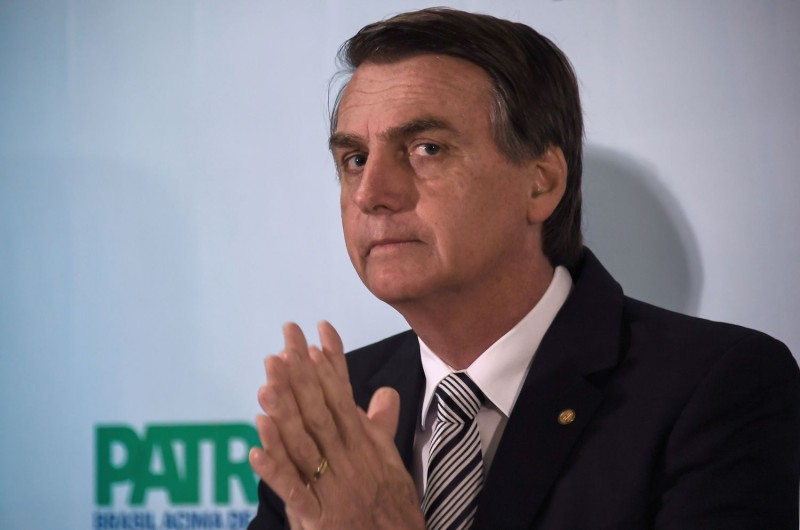 Jair Bolsonaro looks on during a press conference he called to announce his intention to run for the Brazilian presidency in the October 2018 election, in Rio de Janeiro on August 10, 2017. (Apu Gomes/AFP/Getty Images)