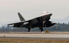 A U.S. Air Force F-22 Raptor fighter jet touches down at Gwangju Air Base in South Korea on Dec. 2, 2017. (Senior Airman Colby L. Hardin/U.S. Air Force/Getty)