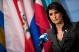 U.S. Ambassador to the United Nations Nikki Haley speaks to press at U.N. headquarters in New York on Jan. 2. (Drew Angerer/Getty Images)
