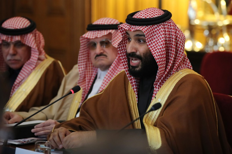 Saudi Crown Prince Mohammed bin Salman participates in a meeting between members of the British government and Saudi ministers and delegates in London on March 7. (Dan Kitwood/WPA Pool/Getty Images)