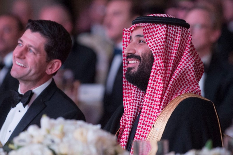 Saudi Crown Prince Mohammed bin Salman attends the Saudi Arabia-United States Partnership Meeting in Washington on March 23. (Bandar Algaloud/Saudi Kingdom Council/Handout/Anadolu Agency/Getty Images)