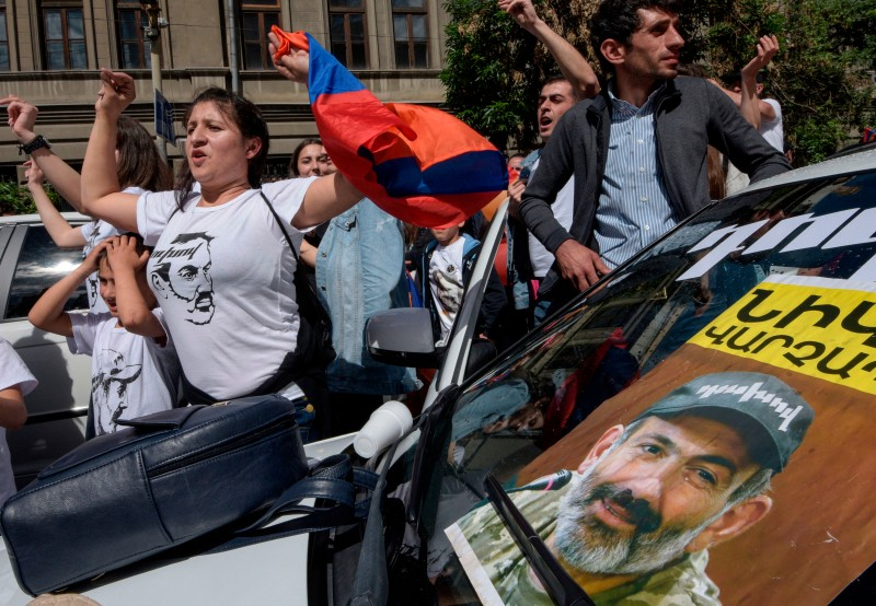 Supporters of opposition leader and newly elected Armenian Prime Minister Nikol Pashinyan celebrate in the streets of Yerevan on May 8. (Karen Minasyan/AFP/Getty Images)