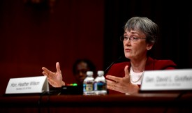 Air Force Secretary Heather Wilson testifies before the Senate Appropriations Committee Subcommittee on Defense in Washington on May 17. (Air Force Photo by Staff Sgt. Rusty Frank)