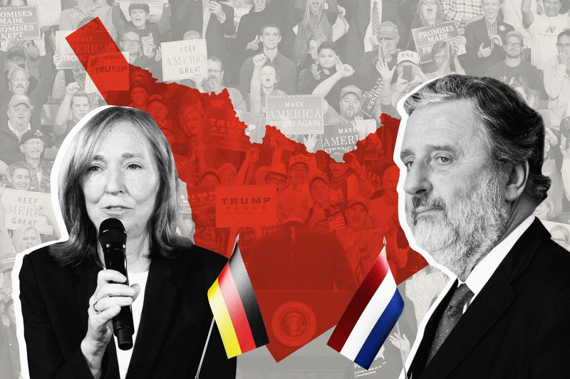 Emily Haber, the German ambassador to the United States, and Henne Schuwer, the Dutch ambassador to the United States. (Paul Zinken/Picture Alliance via Getty Images/Benoit Doppagne/AFP/Getty Images/Foreign Policy illustration)