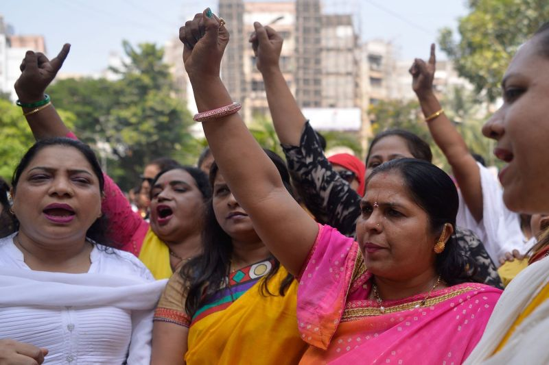 Indian activists shout slogans outside a police station as they demand justice for Bollywood actress Tanushree Dutta, who has accused actor Nana Patekar of sexual harassment, in Mumbai on October 11.