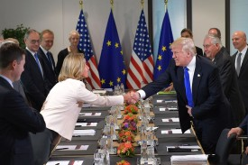 U.S. President Donald Trump shakes hands with EU Foreign Policy Chief Federica Mogherini during a meeting at the European Union Headquarters in Brussels on May 25, 2017.