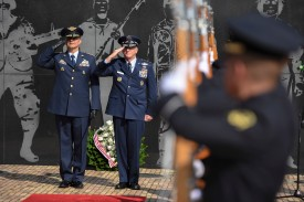 Air Force Chief of Staff Gen. David Goldfein and Commander of the Colombian Air Force General Carlos Eduardo Bueno salute during a ceremony at the Memorial Heroes Caidos en Combate in Bogotá on Nov. 15. (U.S. Air Force photo by Tech Sgt. Anthony Nelson Jr.)