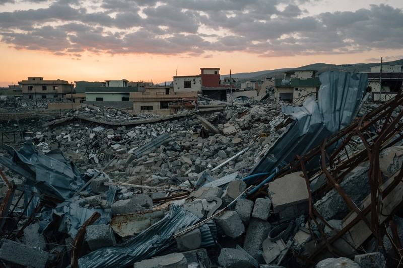 Sinjar city, seen in March 2017, remains severely damaged and largely deserted years after Islamic State militants were pushed out.