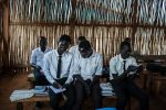 Boys in their senior year at the Protection of Civilians Camp 3 study after class in Juba, South Sudan, on March 23. (Alex Potter for Foreign Policy)