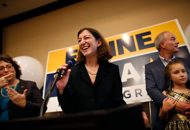 Democratic candidate Elaine Luria speaks to a room full of supporters after upsetting incumbent Republican Scott Taylor to win Virginia's 2nd Congressional District in Virginia Beach on Nov. 6. (Stephen M. Katz/The Virginian-Pilot via AP)
