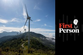 Wind mills of the National Power and Light Company in Santa Ana, Costa Rica, on Oct. 23, 2015. (Ezequiel Becerra/AFP/Getty Images)