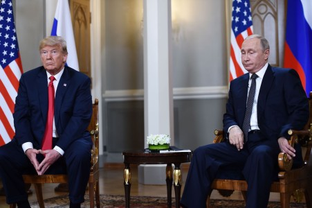 Russian President Vladimir Putin and U.S. President Donald Trump attend a meeting in Helsinki on July 16. (Brendan Smialowski/AFP/Getty Images)