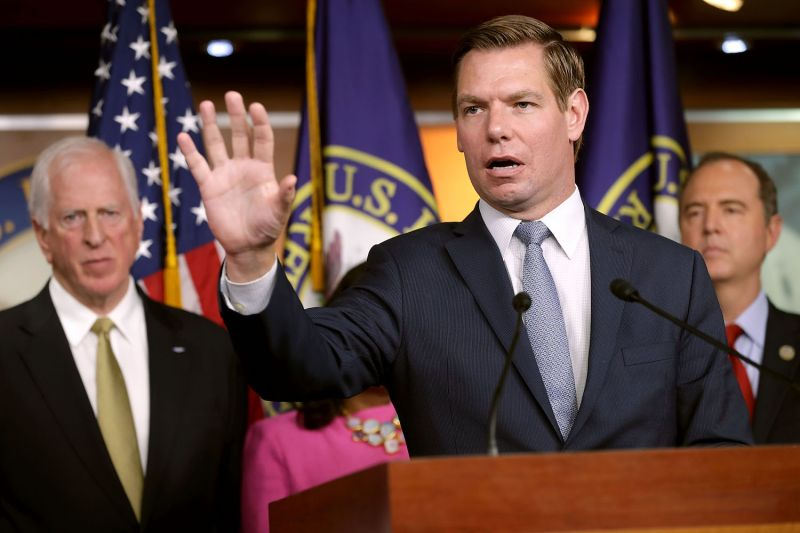 House Intelligence Committee member Rep. Eric Swalwell (D-Calif.)  speaks at a news conference about the Trump-Putin Helsinki summit in Washington on July 17. (Chip Somodevilla/Getty Images)
