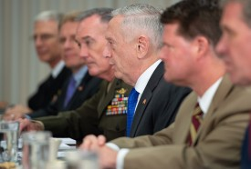 U.S. Secretary of Defense Jim Mattis (center) speaks alongside Chairman of the Joint Chiefs of Staff Gen. Joseph Dunford (center left) and other senior Defense Department leaders as he holds a meeting with Indonesia Defense Minister Ryamizard Ryacudu at the Pentagon in Arlington, Virginia, on Aug. 28. (Saul Loeb/AFP/Getty Images)